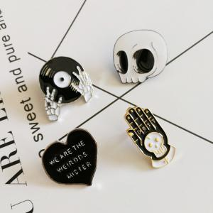4pcs Enamel Pins Punk Brooch Lapel Pin Button Badges Jewelry Cool Gifts -