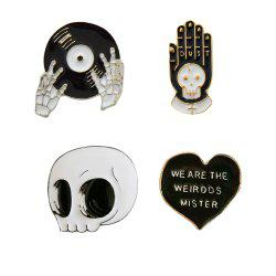 4 pcs Émail Broches Punk Broche Lapel Broche Bouton Badges Bijoux Cool Cadeaux -