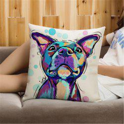 Simple Painted Pet Dog Printed Flax Pillow Cover -