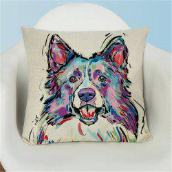 Simple Painted Lovely Dog Flax Pillow Case -