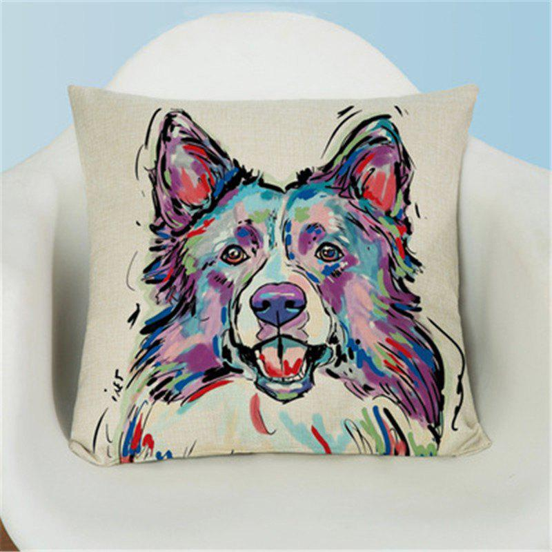 Hot Simple Painted Lovely Dog Flax Pillow Case
