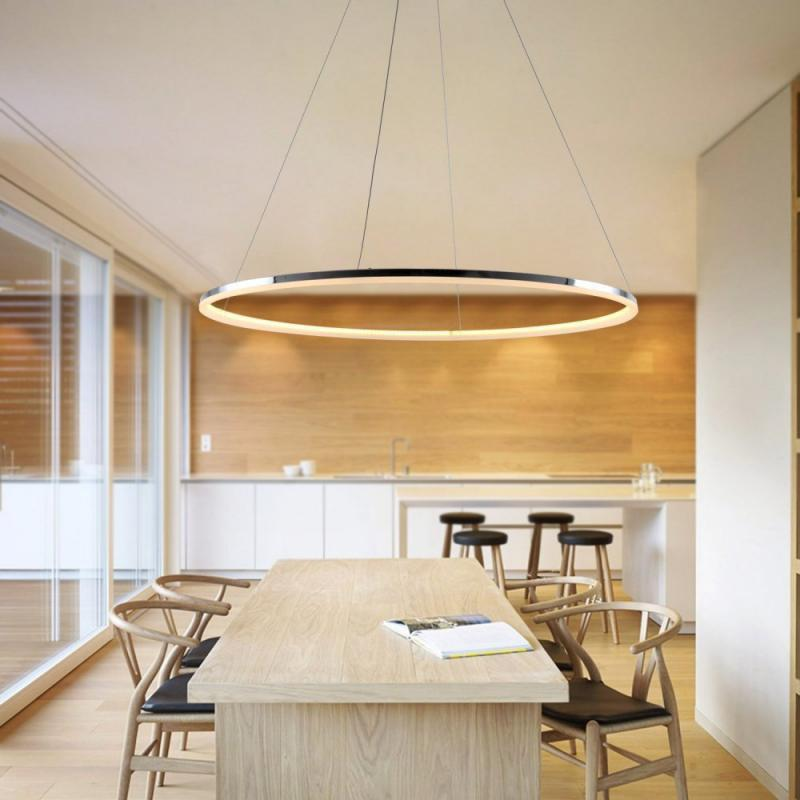 Chic Modern LED Ring Shape Pendant Lamp Creative Style for Living Dining Office Room