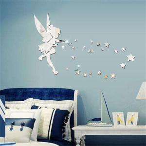 Silver Acrylic Mirror Three Dimensional Environmental Protection Wall Stickers -