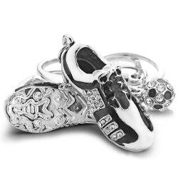 Creative Crystal Football Soccer Shoes Rhinestone Key Chain -