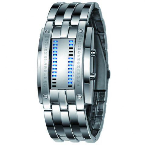 Discount Luxury Unique Creativ Men Blue Binary Stainless Steel Digital Electronic Watches