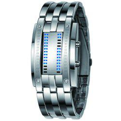 Luxury Unique Creativ Men Blue Binary Stainless Steel Digital Electronic Watches -