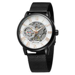 MGORKINA Men Luxury Skeleton Stainless Steel Military Sport Mechanical Watch -
