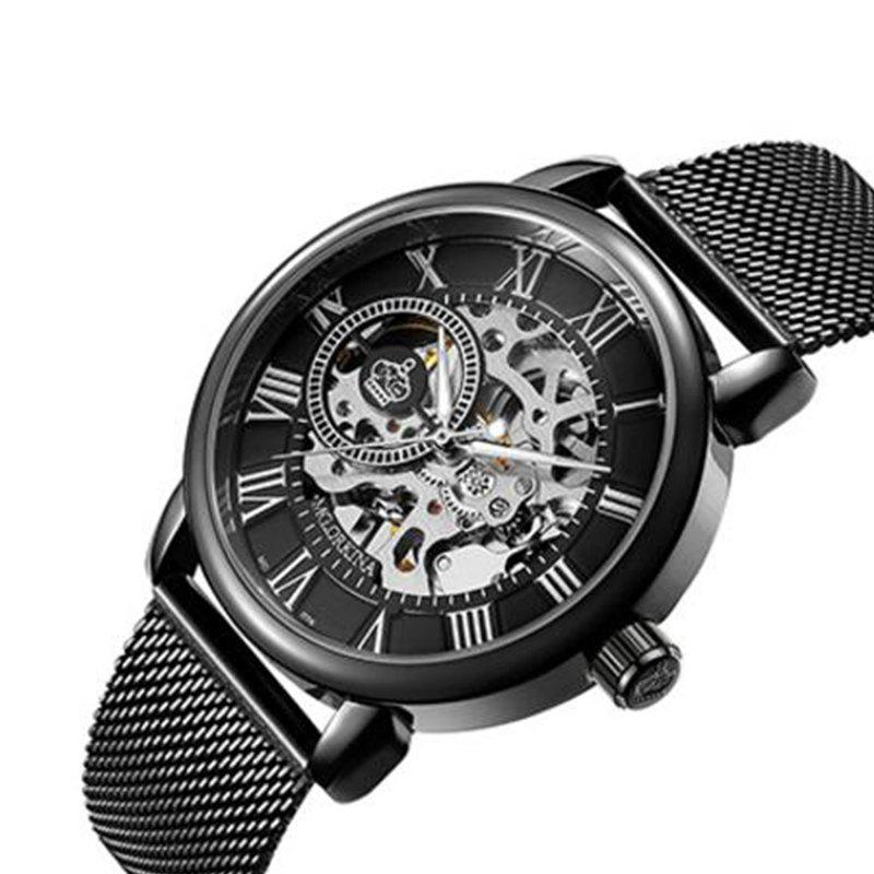 Affordable MGORKINA Men Luxury Skeleton Stainless Steel Military Sport Mechanical Watch