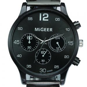 Migeer Vintage Casual Large Dial Stainless Steel Analog Fashion Watch -