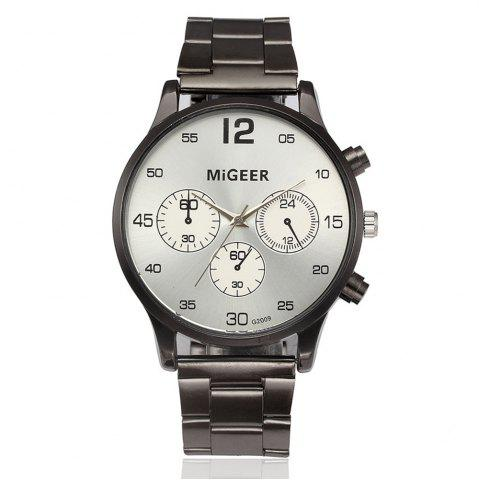 Fashion Migeer Vintage Casual Large Dial Stainless Steel Analog Fashion Watch