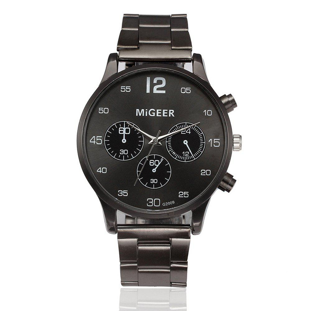 Discount Migeer Vintage Casual Large Dial Stainless Steel Analog Fashion Watch