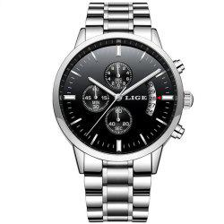 LIGE Men Luxury Brand Chronograph Men Sports Waterproof Watch -