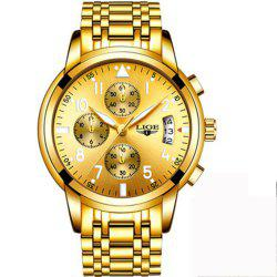 LIGE Men Luxury Fashion Business Quartz Watch -