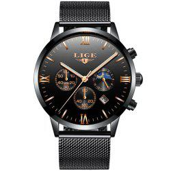 LIGE Men Watches Luxury Brand Multi Function Mens Sport Quartz Watch Man -