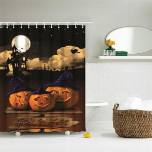Moonlight Pumpkin Water-Proof Polyester 3D Printing Bathroom Shower Curtain -