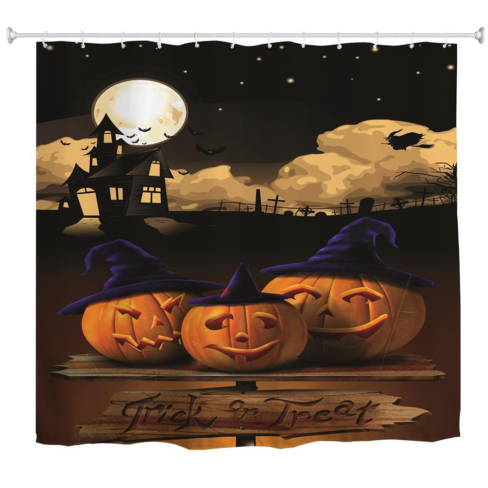 Cheap Moonlight Pumpkin Water-Proof Polyester 3D Printing Bathroom Shower Curtain