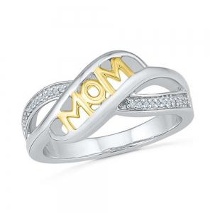 Rhinestone Heart Shaped Mom Separation Ring -