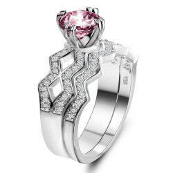 Artificial Diamond Couple Ring -