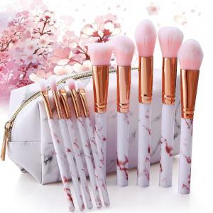 10PCS Super Cute Pink Soft Marble Pattern Makeup Brushes Tools Kit for Women -