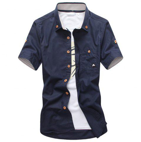 Unique 2018 New Men's Short Sleeve Slim Fashion Embroidered Mushroom Short Sleeve Shirt