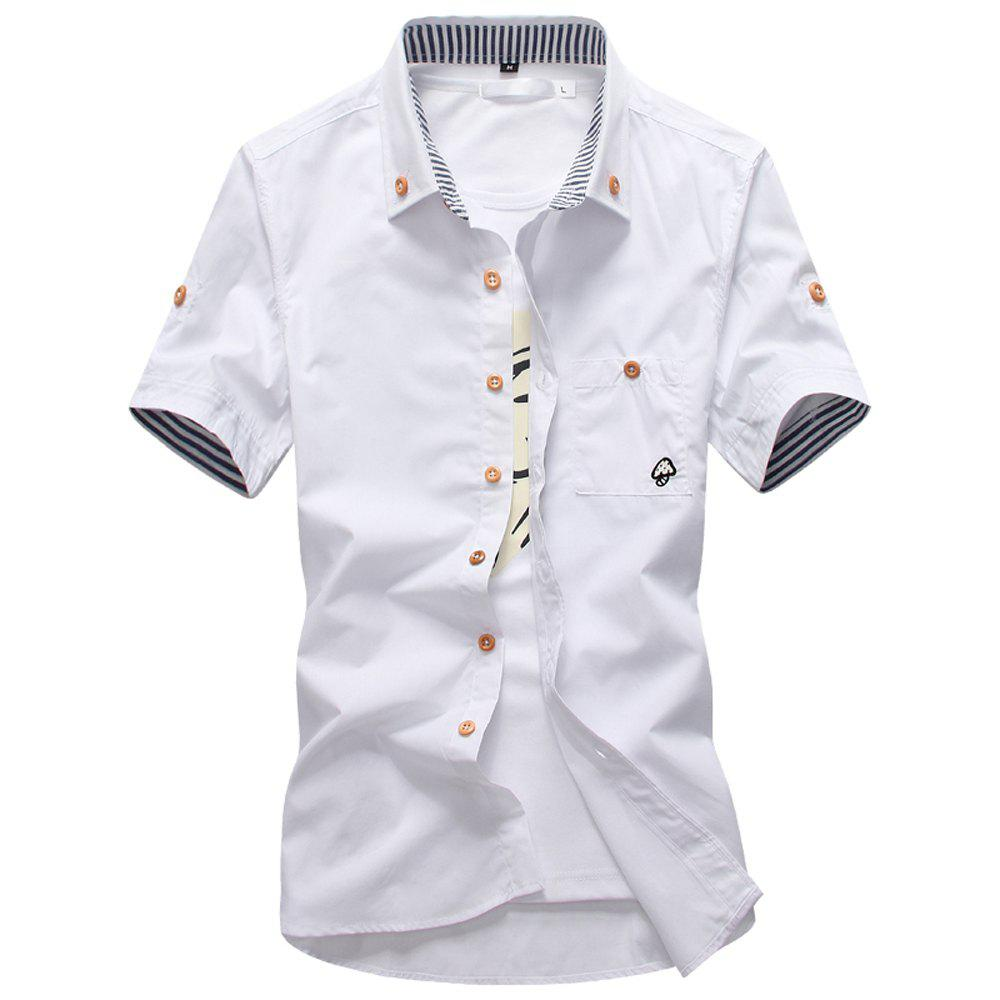 Best 2018 New Men's Short Sleeve Slim Fashion Embroidered Mushroom Short Sleeve Shirt