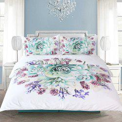 Green Succulents Bedding  Duvet Cover Set Digital Print 3pcs -