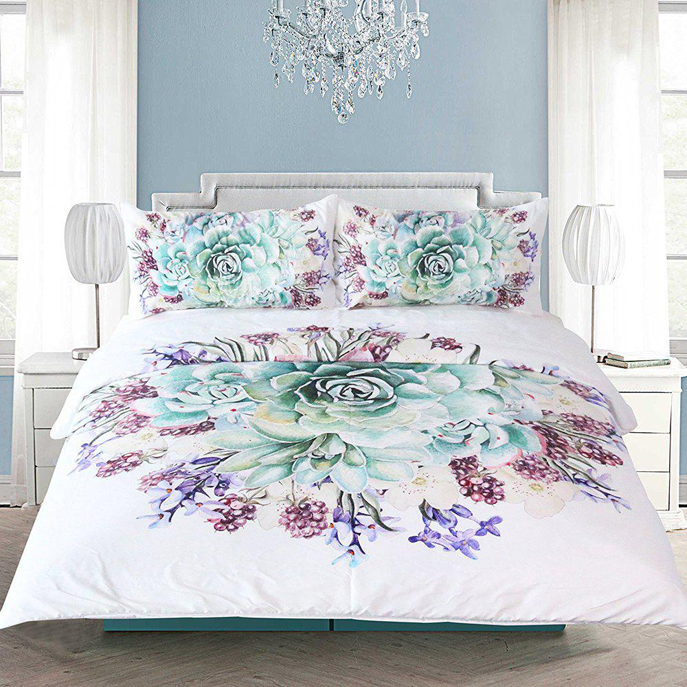 Latest Green Succulents Bedding  Duvet Cover Set Digital Print 3pcs