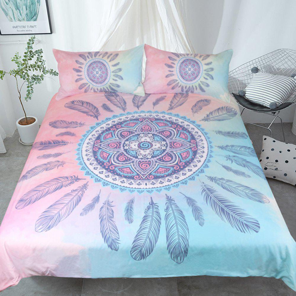 Fancy Mandala Bedding Set Feathers Duvet Cover Sets Digital Print 3pcs
