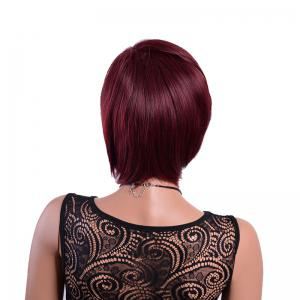 Short Synthetic Wine Red Natural Straight Bob Burgundy Wig for African American -