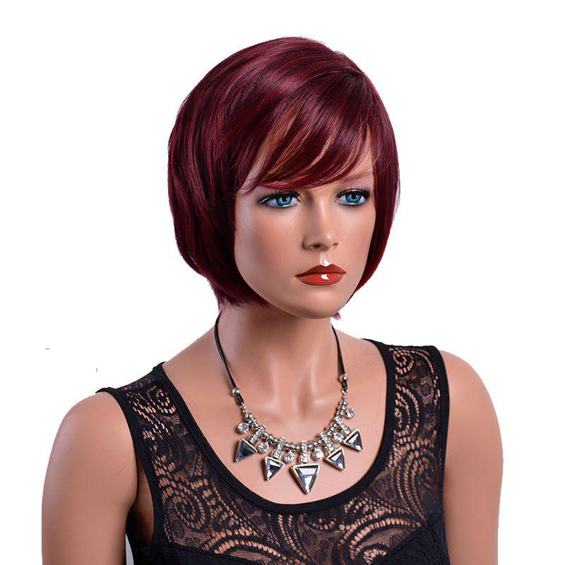 Store Short Synthetic Wine Red Natural Straight Bob Burgundy Wig for African American