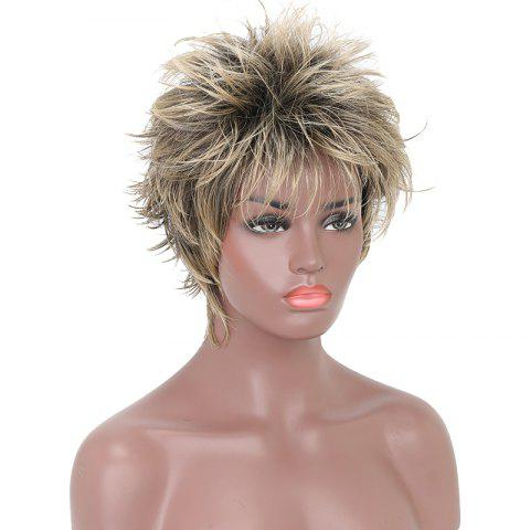 Outfit Fashion Short Cut Wavy Black Blonde Highlights Synthetic Hair Wigs for Girls