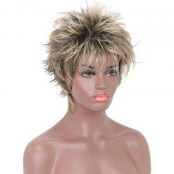 Fashion Short Cut Wavy Black Blonde Highlights Synthetic Hair Wigs for Girls -