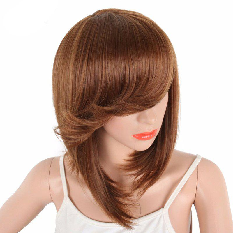 Latest Short Bob Brown Natural Straight Synthetic Wigs For Women Side Bang