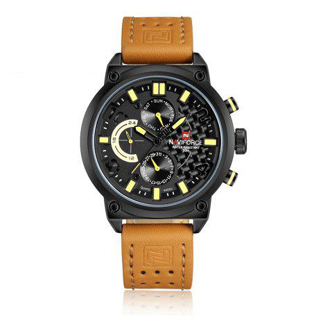 Unique Naviforce Luxury Leather Band Men Sports Wristwatch