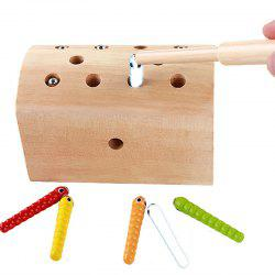 Creative Design Magnetic Wooden Puzzle Game Catch the Worm -