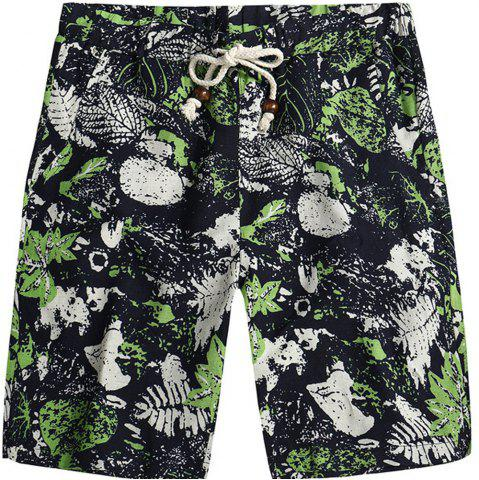 Hot Beach Flower Printed Loose Shorts