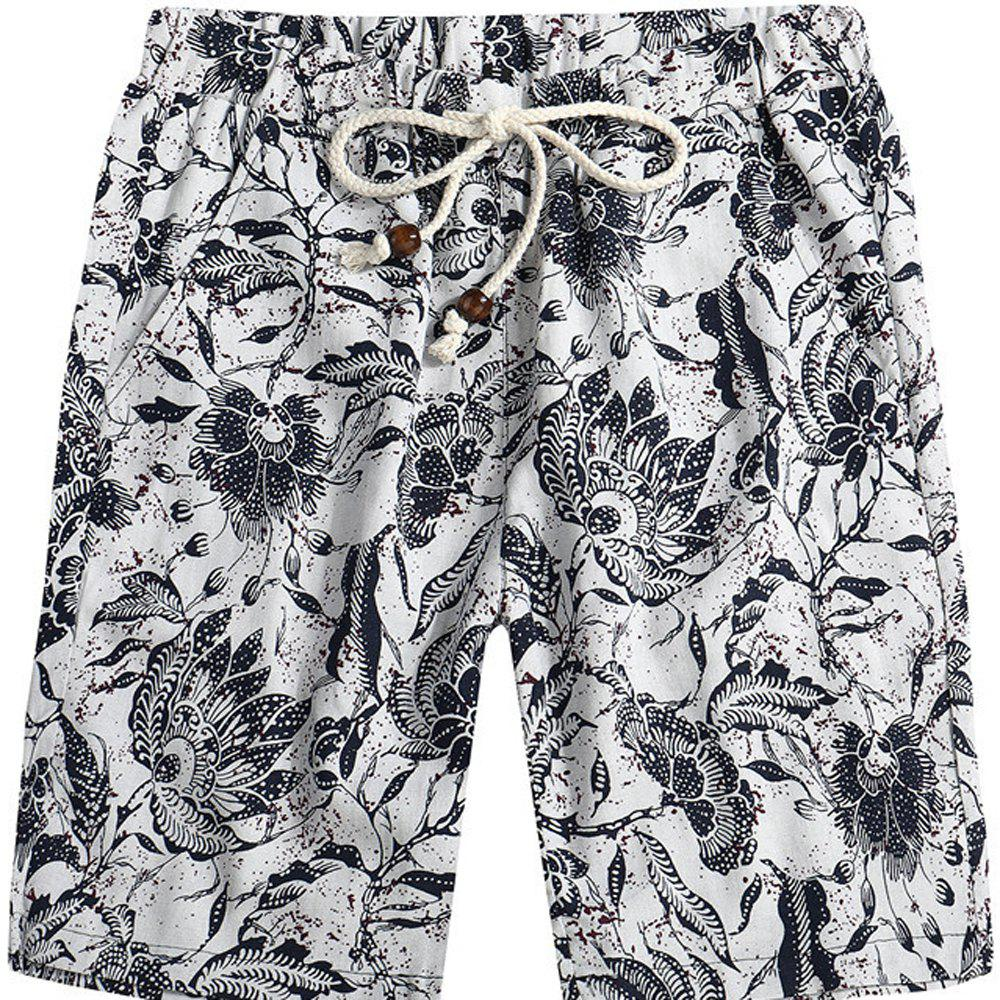 Chic Men Beach Flower Printed Loose Shorts