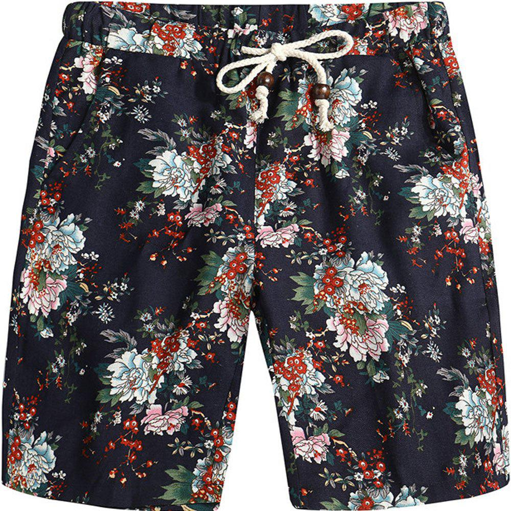 New Men Beach Flower Printed Loose Shorts