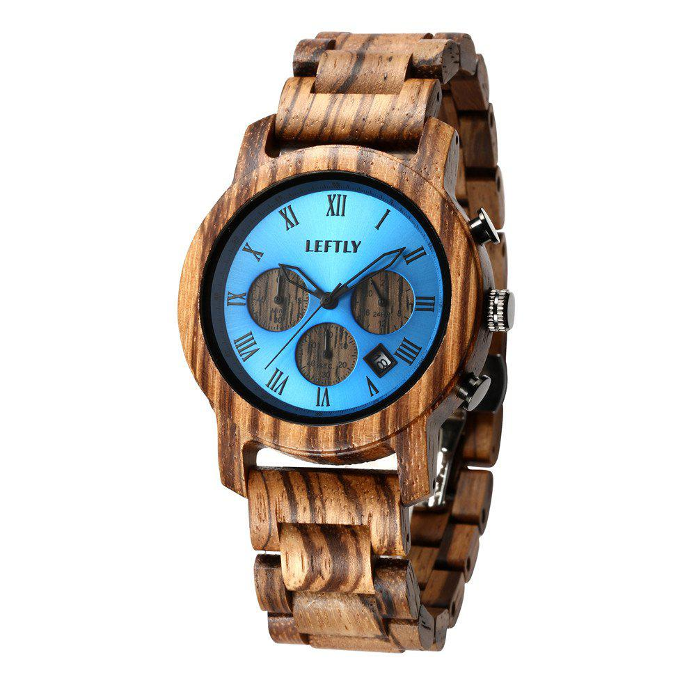 Latest LEFTLY LYM004 Men Quartz Movement Chronograph Function Wooden Watch