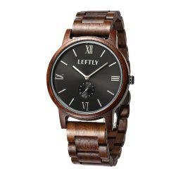 LEFTLY LYM008 Men Wooden Quartz Wrist Watch Miyota Movement -