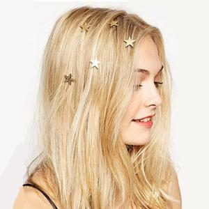 Simple Features Jewelry Gold Star Spring Clip Spiral Bride Hair Headdress 5PCS -