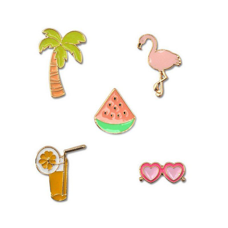 Shops 5pcs Flamingo Coconut Trees Brooch Button Pins Jacket Collar Pin Badge Jewelry