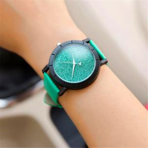 Fashion Starry  Women Men Sequins Moon Clock Faux Leather Quartz Wrist Watch -