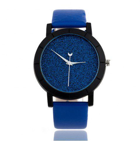 Chic Fashion Starry  Women Men Sequins Moon Clock Faux Leather Quartz Wrist Watch