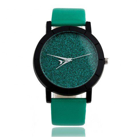 Hot Fashion Starry  Women Men Sequins Moon Clock Faux Leather Quartz Wrist Watch
