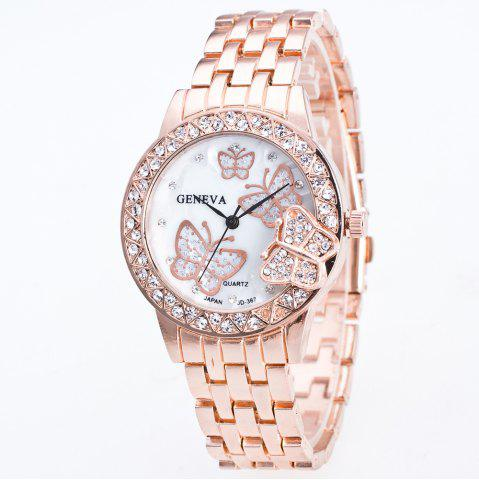 Online Fashion Diamond Ladies Watch Gold Butterfly Steel Band Quartz Watch