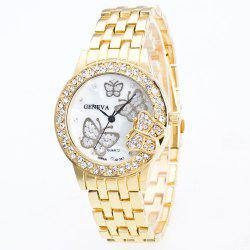 Fashion Diamond Ladies Watch Gold Butterfly Steel Band Quartz Watch -