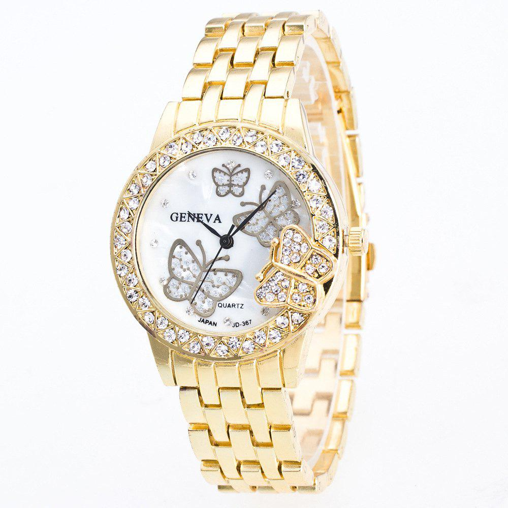 Hot Fashion Diamond Ladies Watch Gold Butterfly Steel Band Quartz Watch