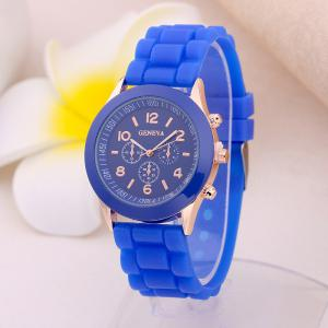 Geneva Casual Fashion Silicone Band Women Quartz Watch -