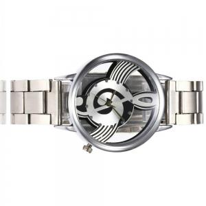 New  Fashion Hollow Music Note Notation Stainless Steel Quartz Wristwatch -